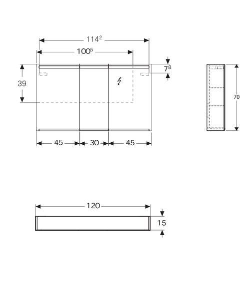 Option Spiegelschrank 1200x150x700mm Sanitarinstallateur